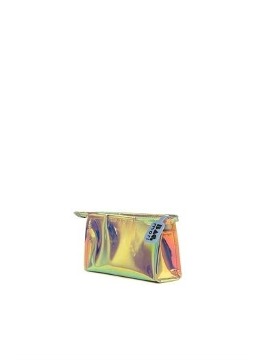 Bagmori  Kadın Hologram Fermuarlı Makyaj Çantası M000006245 Altın